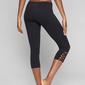 Athleta Mind Over Mat Capri Black Lattice Leggings